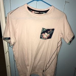 Pink flowery pocket shirt